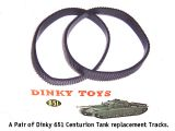 Dinky Toys 651 - Reproduction - Centurion Tank Black treaded Tracks (Price per Pair)